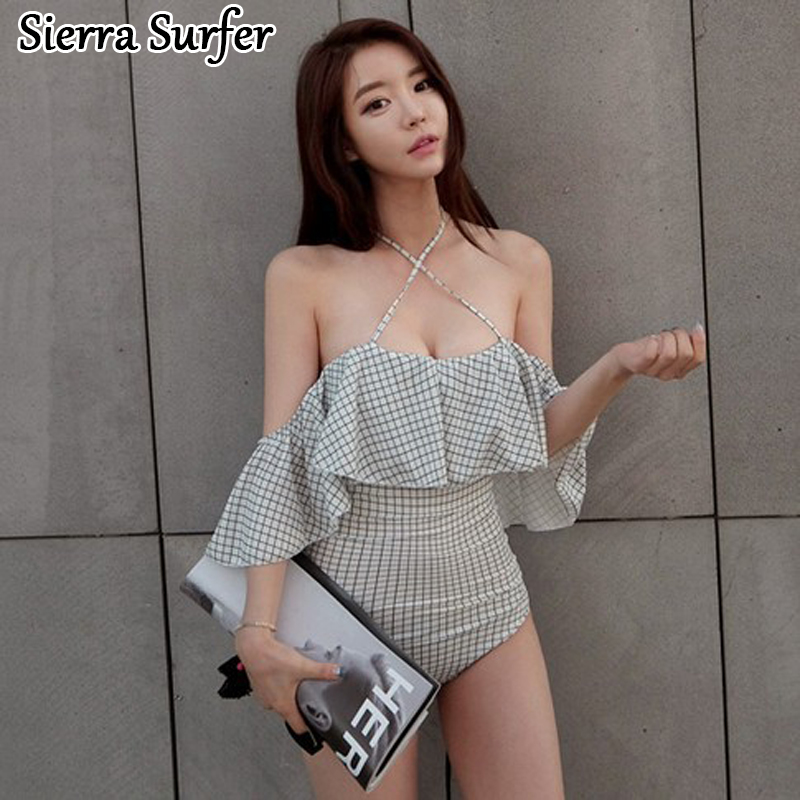 Swimwear Female Woman Swimsuit One Piece Large Size Women Bathing Suits Bath Womens Swim Suit Beach 2018 New Sexy Ruffle Halter large size swimsuit female swimwear one piece plus size women s swimsuits retro women swim suit beach may sex bath suits d699