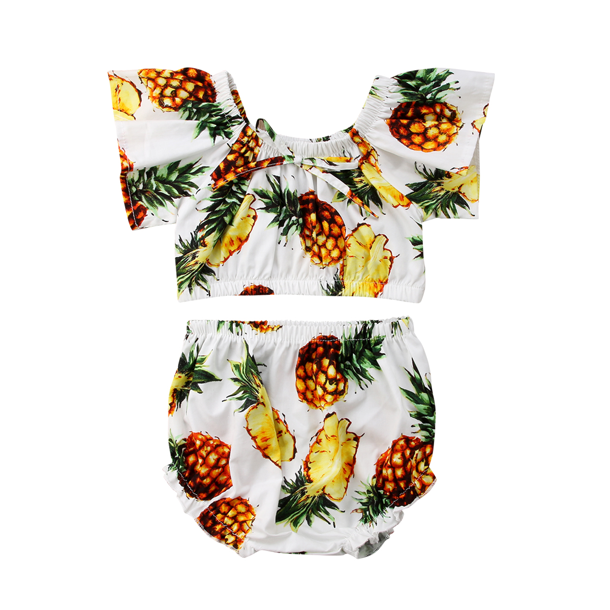 2Pcs Kids Infant Toddle Baby Girls Off Shoulder Fruits Printed Ruffle Sleeve Crop Tops Shorts Shorts Outfit Clothes Summer 9M-4T