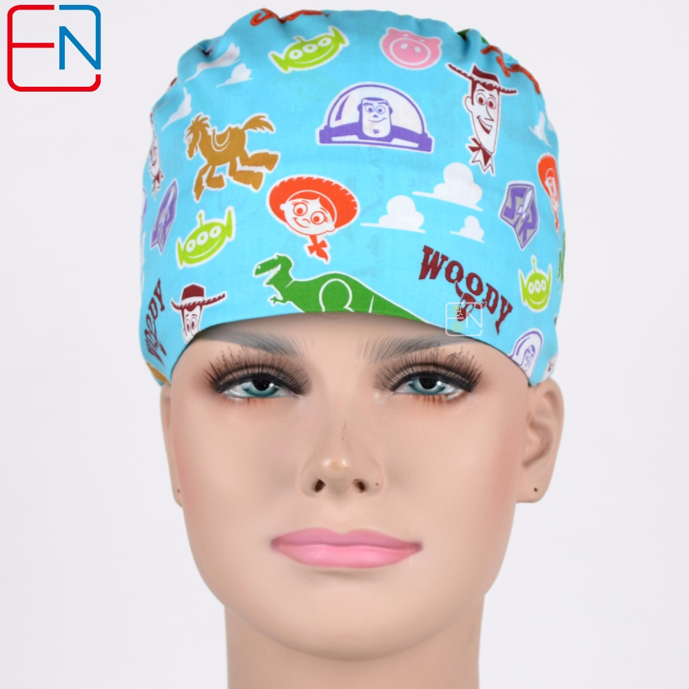 Hennar Surgical Scrub Caps Tie Back With Elastic Bands Caps Masks For Dentis Hospital Medical Doctor Bright Colors Print Unisex