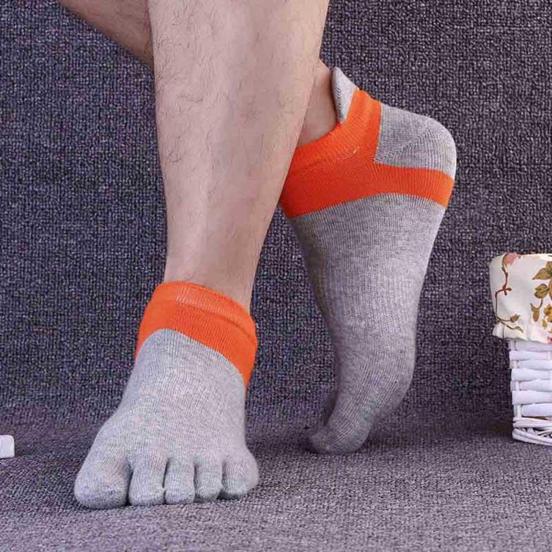 Pure Cotton Autumn Winter Warm Thick Men Toe Sock Top Grade Brand Middle Tube Finger Socks Hemp Thick Coolmax
