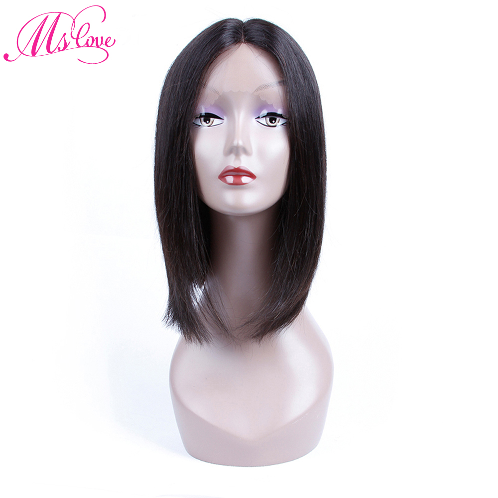 Ms Love Pre Plucked Lace Front Wig Short Bob Straight Hair Wig 100% Brazilian Human Hair Wig 12 Inch Free Shipping