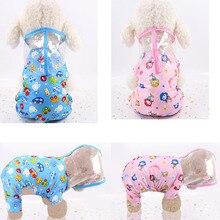 Dog Raincoat XS-2XL Cartoon Waterproof Raincoats Hooded For Small Dogs Chiwawa Pomeranian Rain Coat Cat Rainwear W9