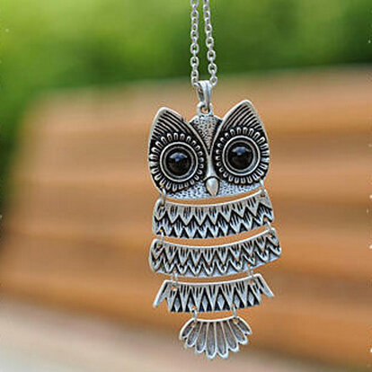 product Free Shipping $10 (mix order) 2016 New Fashion Adorn Article Owl Necklace Ancient Owl Sweater Chain 24g N088