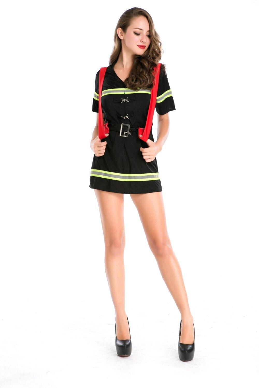 Ensen vrouwelijke brandweerman kostuums volwassen Nieuwe stijl sexy - Carnavalskostuums - Foto 3