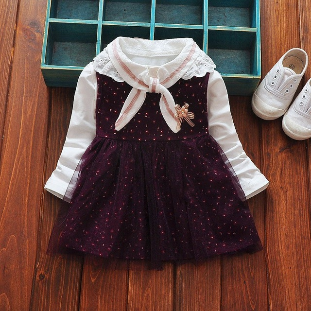Clearance Spring Autumn Casual Long Sleeve Baby girls kids Children Cute lace neck t-shirt+ print Mesh tank princess Dress C001