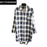 BUTTERMERE Plus Size Shirts Women 3XL Autumn Long Shirt Cardigan Elegant Runway Blouses Female Plaid Top