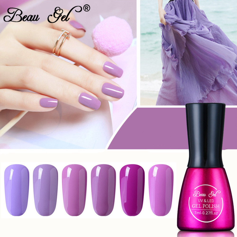 Beau Gel 7ml Purple Series Nail Gel Lakk Soak Off Semi Permanent UV LED Nail Polish Hybrid Lakk Nail Art Enamel Lacquer