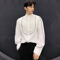 2019 New Design Spring Autumn Men's Thin Loose Shirt Stand Collar Black White Solid Casual Shirts Fashion Tide Tops Silk Shirts