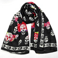 [Visual Axles] Silk Skull Scarf Women 2017 Spring Luxury Soft Foulard Silk Shawls Scarf For Ladies Oversized 180*90cm