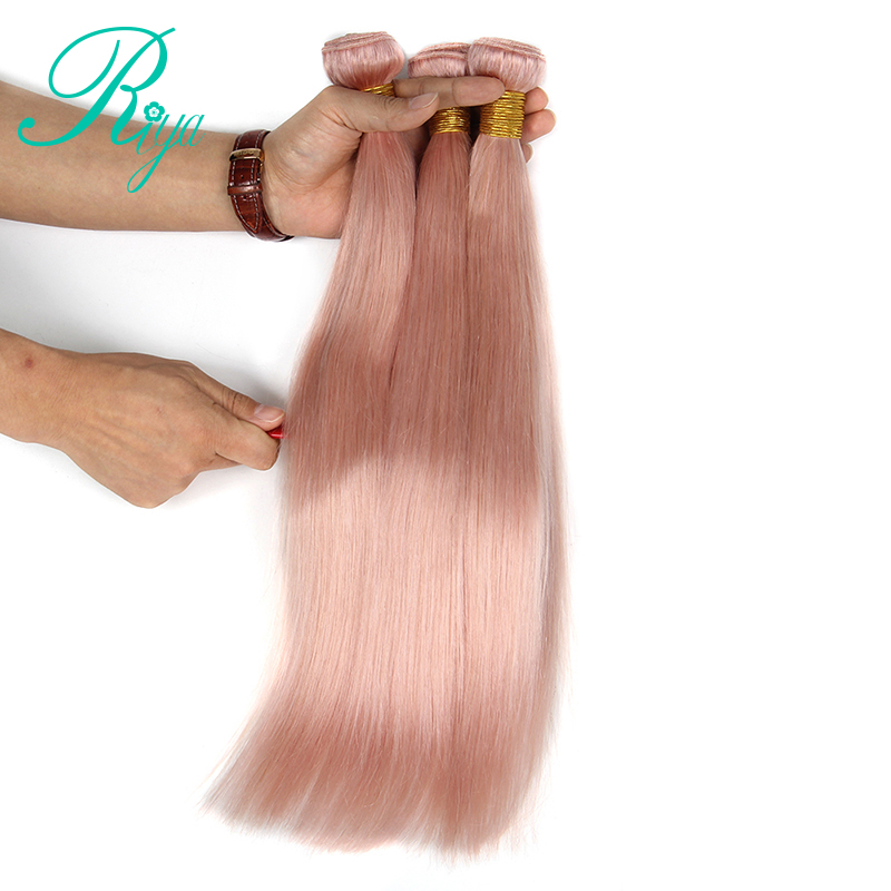 Ombre Brazilian Straight Human Hair 3 Bundles Sold Full Pink Human Hair Extensions 12-28 Inches Riya Remy Hair