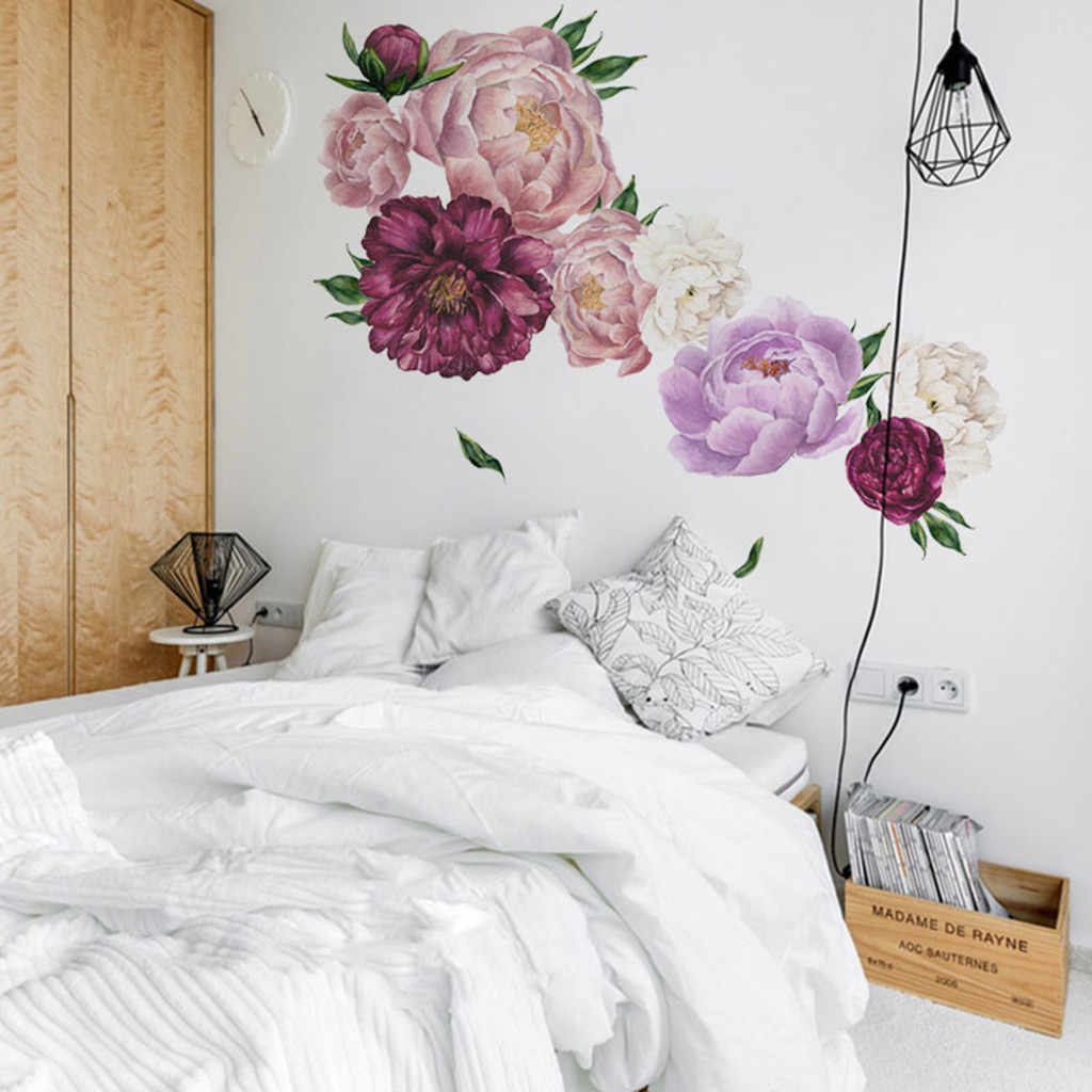 Peony Rose Flowers Wall Sticker Home Bathroom Door Wall Art Sticker Decals Girls Room Nursery Washable Removal Home Decor Gift