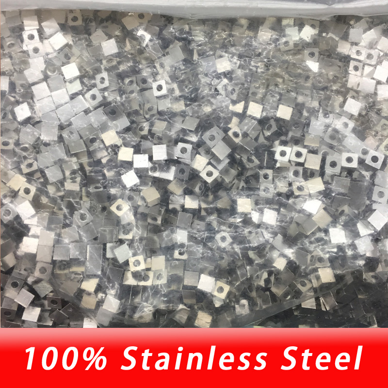 Diy jewelry making cube Beads 2.5/3/4/5mm square beads hole 2mm rectangle bead stainless steel high quality wholesale jewelry making