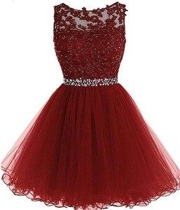 Image 2 - ANGELSBRIDEP Sexy krótkie/Mini sukienki na powrót do domu 2020 z aplikacje z koralikami Vestidos Cortos specjalna okazja sukienki ukończenia szkoły