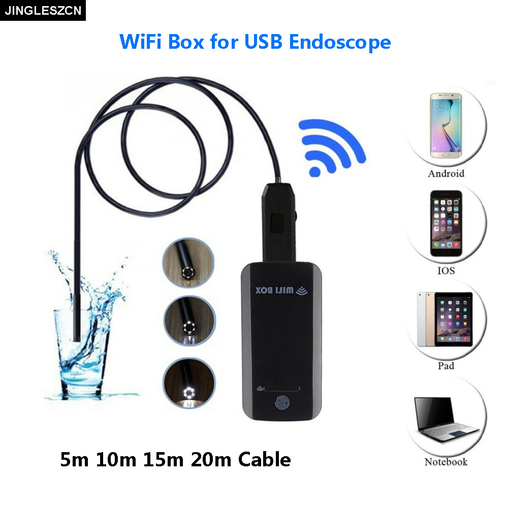JINGLESZCN 7mm Wifi Box Endoscope USB Camera 2m 5m 7m 10m 15m 20m 25m Waterproof Snake Inspection Borescope Camera Android PC