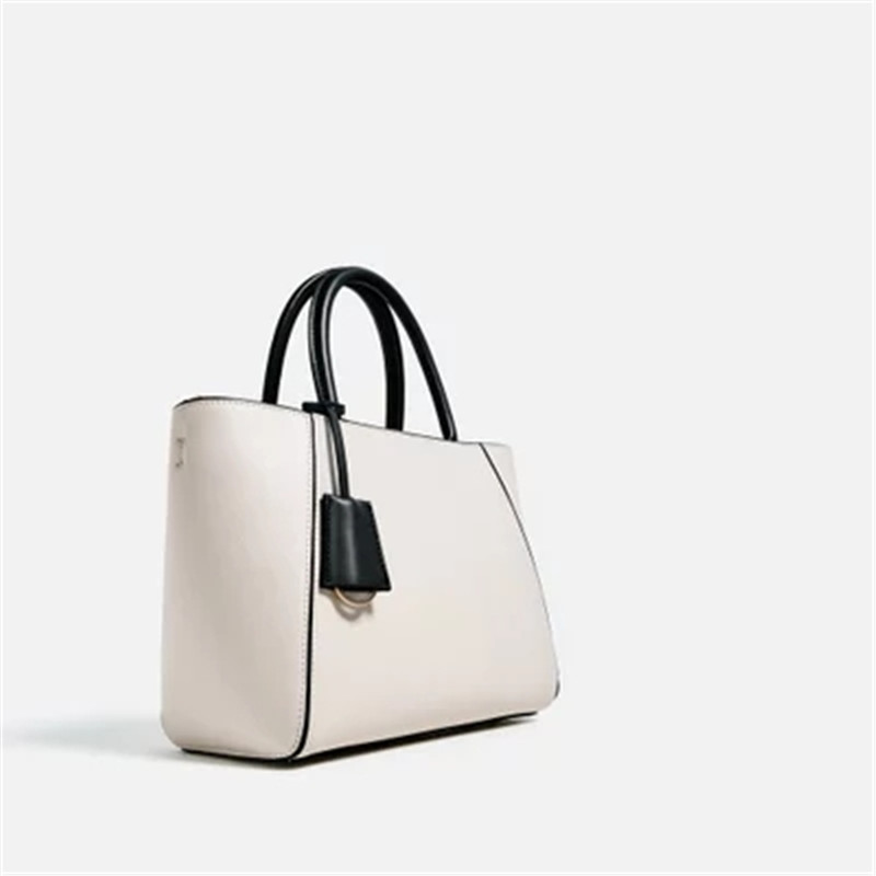 Shoulder tote bag new fashion hand-painted solid color white collar casual city handbags pink solid color off shoulder crop bodycon sweaters vests