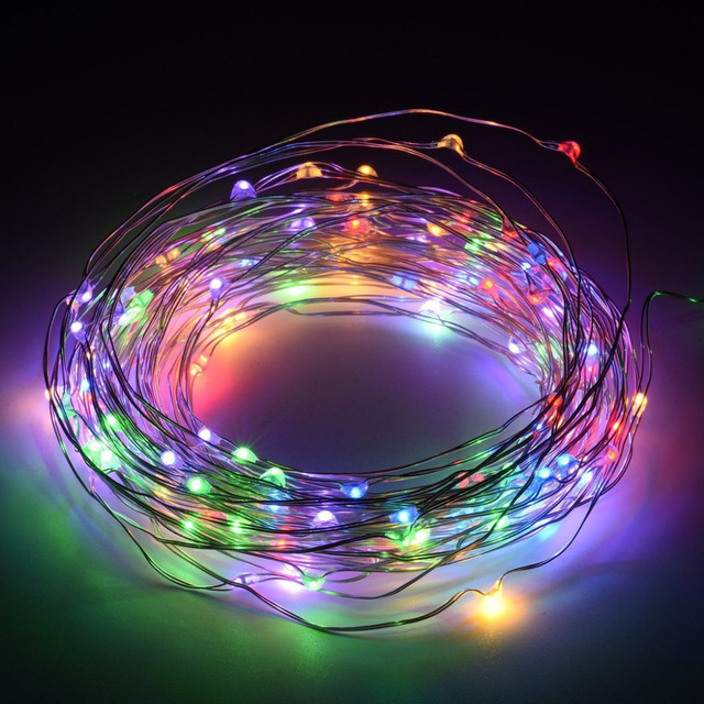 10m waterproof battery led garland christmas lights outdoor copper wire string light gerlyanda wedding holiday lights