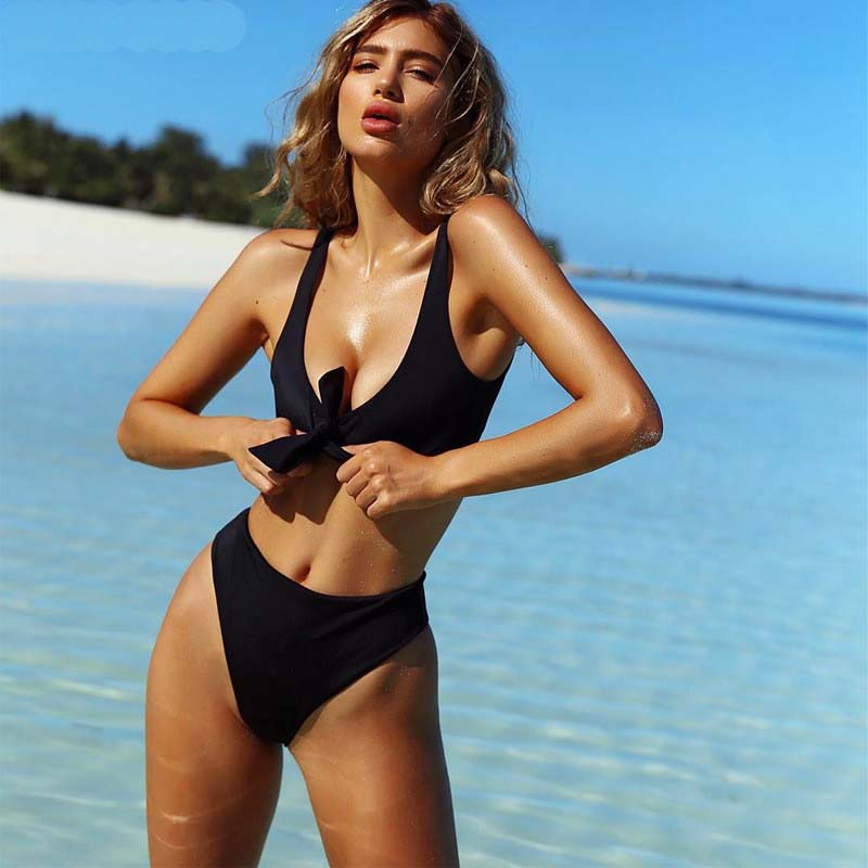 2017 Venus Vacation Women Solid color bikini Set Sexy V Neck Knot High Waist Swimwear Brazilian Biquini Beachwear Bathing Suit