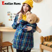 Ropa de maternidad Emotion Moms abrigo de lactancia caliente de invierno abrigo de maternidad a prueba de viento Pregant chaqueta de maternidad portador de bebé