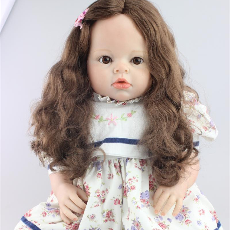28 70CM Girl Toddler Dolls Soft Touch Vinyl Silicone Reborn Babies Princess Girls Toys Clothing Model