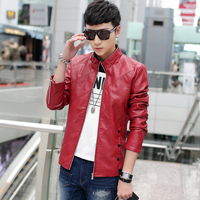 2018 New Long Sleeve Leather Jacket men Black Red Yellow Upscale fashion Casual men jackets and coats Size S 4XL men