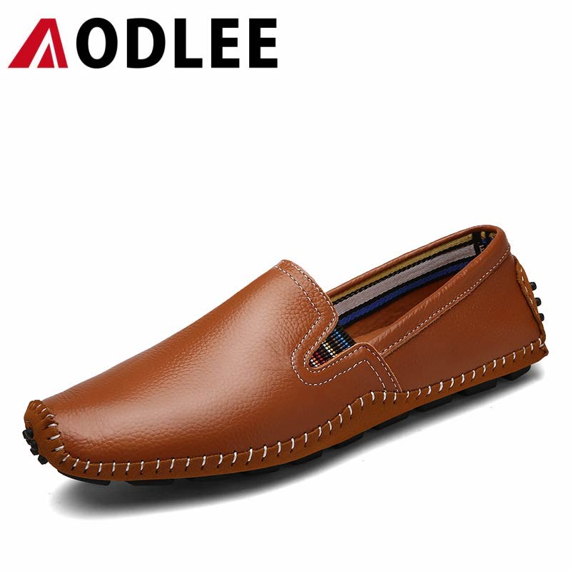 AODLEE Brand Hot Sale 2017 Mens Flats Shoes Fashion Leisure Leather Men Loafers Male Boat Shoes Zapatos Hombre Men Driving Shoes