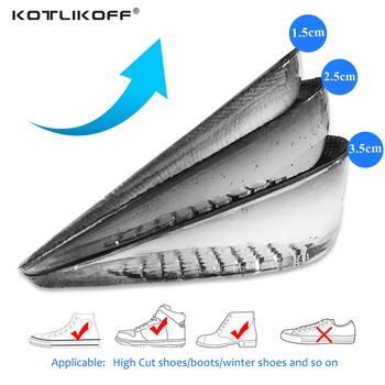 Height Increase Elevator Insoles Pads Soles For Shoes Women Men Silicone Gel Lift Height Increase Shoe Insoles Heel Insert increase height insoles height fabric sport insoles for heels for all shoes to increase height 1 5 cm 2 5 cm 3 5