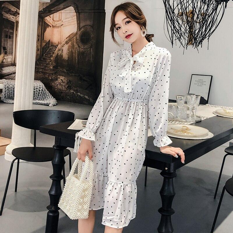 BGTEEVER 2019 Spring Bow Collar Hearts Print Women Chiffon Dress Elastic Waist Flare Sleeve Female Dress Elegant A-line Vestidos 2