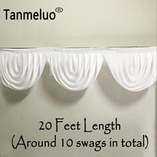6M length white wedding backdrop swags ice silk table skirt hotel banquet decoration detachable curtain