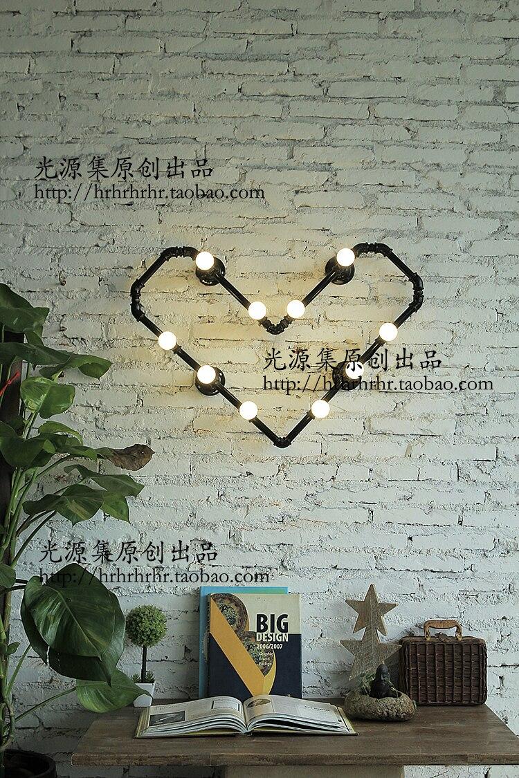Acqua parete camera da letto luci prodotto negozio di abbigliamento bar LOFT industriale lampada creativa tubi di Acqua a forma di cuore ligh ZA - 4