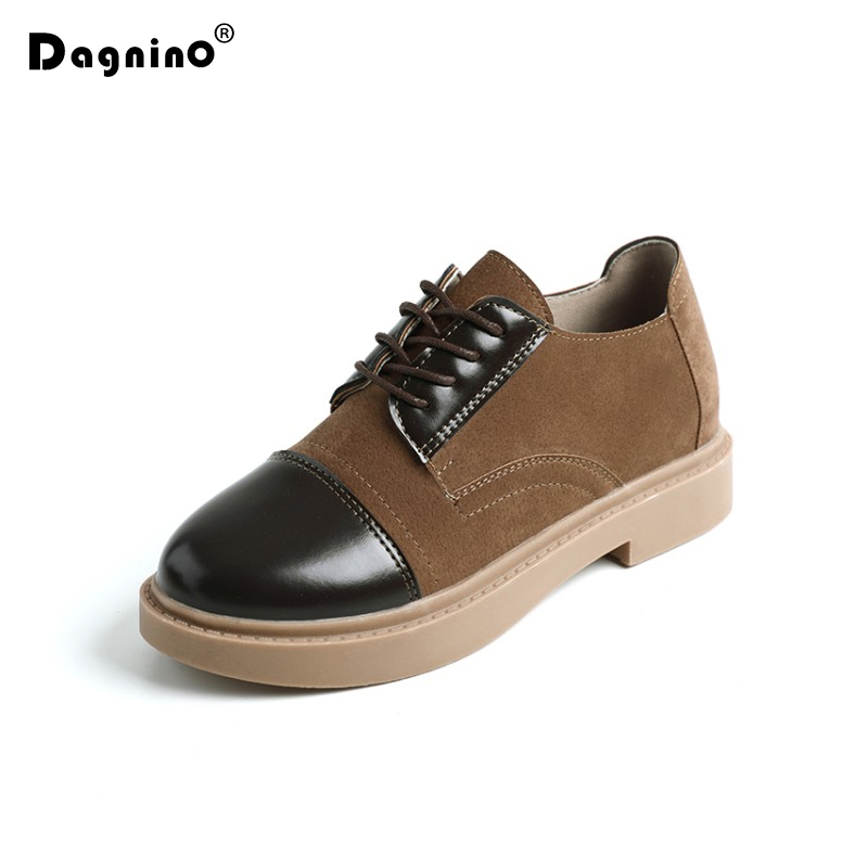 DAGNINO Spring Autumn Women Lace Up Casual   Leather   Shoes Patchwork Woman Faux   Suede   Ladies Low Heels Oxford Shoes Zapatos Mujer