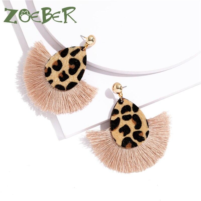 Bohemia Leopard Dangle Drop Earrings Biscuits Round Resin Cheetah Tassel Earrings For Women Sector Jewelry Pendientes Oorbellen