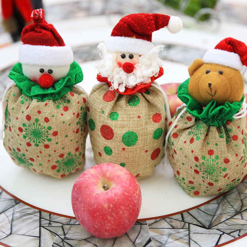 Printed Bunch Of Rope Apple Bag Linen Christmas Decoration Bouquet Mouth Candy Bags Wedding Family Party Candy Christmas Bag