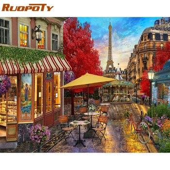Cadre RUOPOTY 60x75cm paysage peinture à la main par numéros Kit moderne mur Art image par numéros peinture acrylique sur toile pour la maison