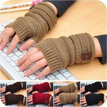 Foreign trade hot button gloves new wool fingerless gloves wholesale half finger gloves half palm computer short gloves