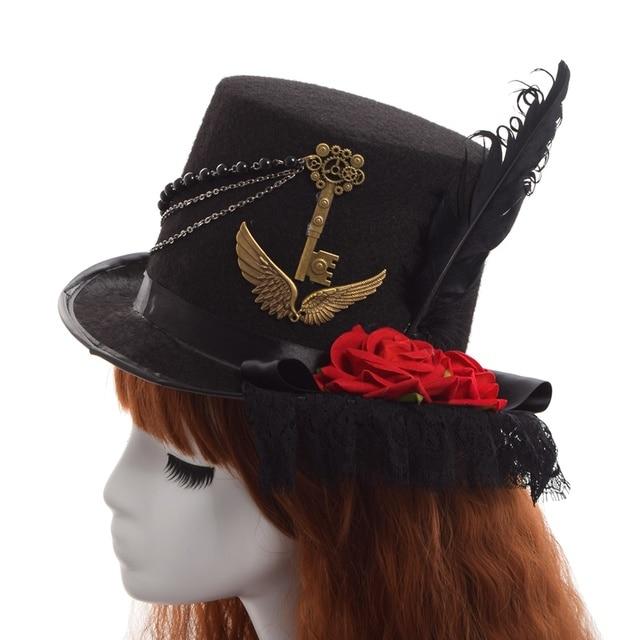 Шляпа в стиле стимпанк с розами и пером