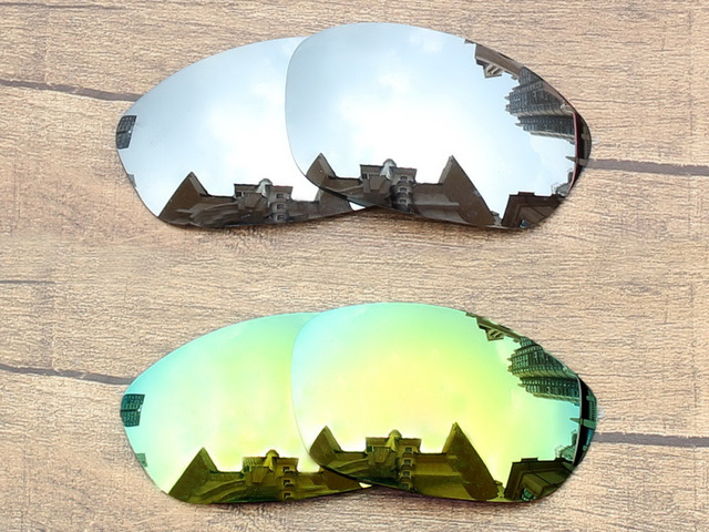 Silver & Golden 2 Pairs Mirror Polarized Replacement Lenses For ...