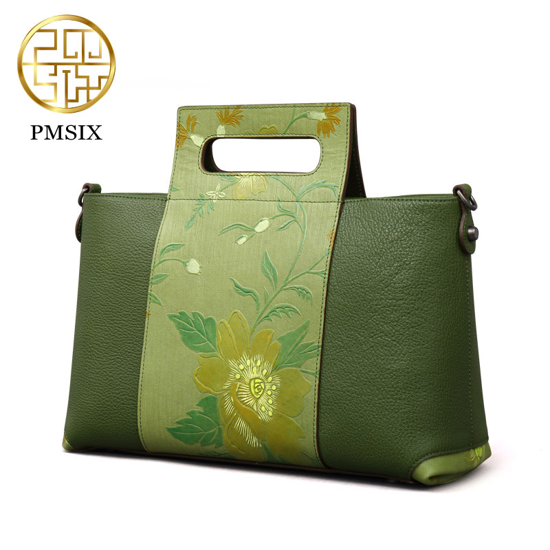 Pmsix 2017 Chinese Style women bag spring and summer new leather elegant embossed handbag retro shoulder bag green/brown P110038 genuine leather cowskin women bag pmsix chinese style fashion casual shoulder bag embossed handbag retro bags p110036