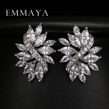 Emmaya Hot Sale Earrings Studs High Quality Marquise Cut Clear Color Cubic Zirconia Stone Flower Stud Earrings for Women(China)