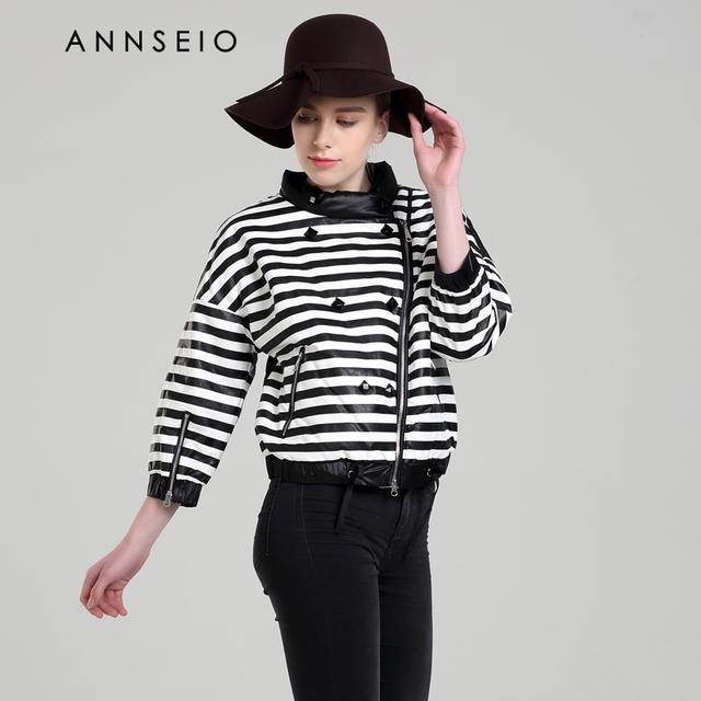 ANNSEIO 2016 new style mulheres vestido de algodão moda stripy curto casacos primavera aquecimento jaqueta plus-size 15B8739-1