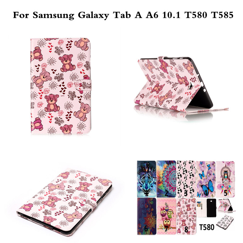 Butterfly OWI Panda PU Leather Stand Protective Tablet Cover Case For Samsung Galaxy Tab A A6 10.1 inch T585C T585 T580 T580N new fashion tab s3 9 7 tablet case pu leather flip cover for samsung galaxy tab s3 9 7 inch t820 t825 cute stand cover 6 colors
