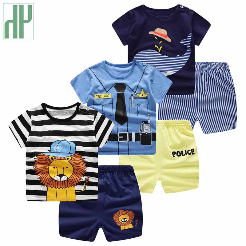 b129b66e87e Newborn Baby boy summer clothes Cartoon striped shirt +Pants girl outfit  Cotton Infant Clothes Sport Suits tracksuit Dropshipp