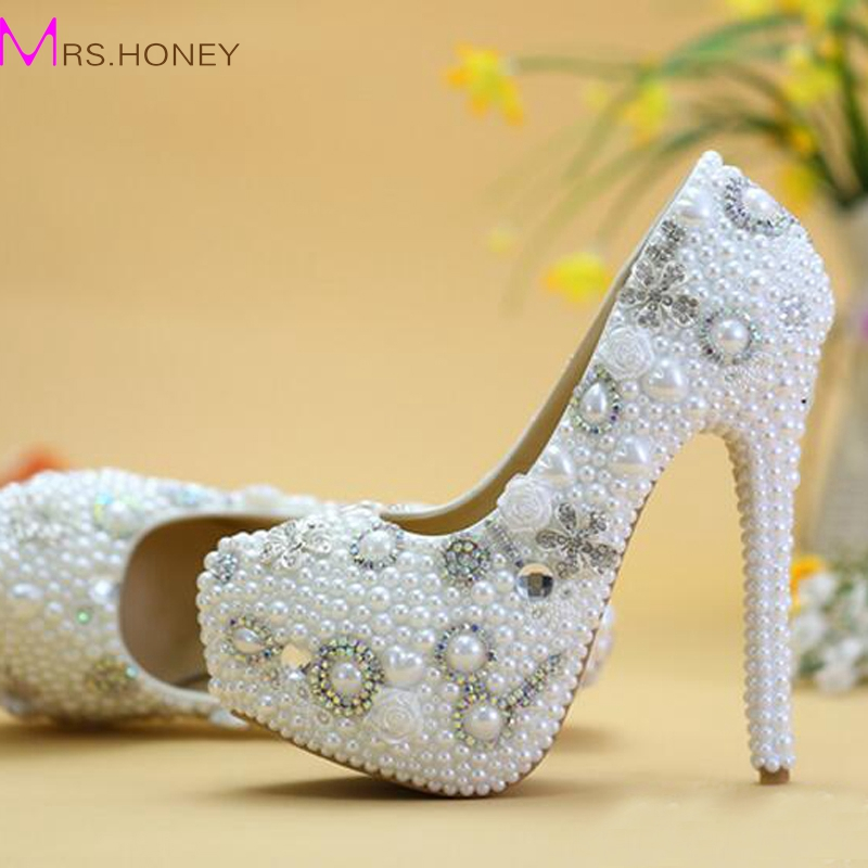 ФОТО New Designer Handmade White Pearl Wedding Crystal Shoes Women High Heel Party Prom Shoes Platform Evening Prom Heels Plus Size
