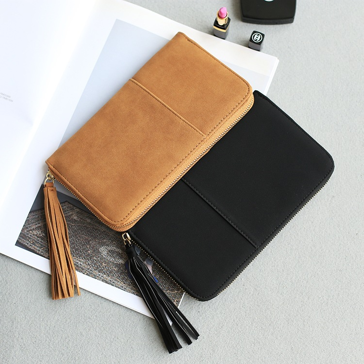 Free shipping new arrival fashion women wallets brand long wallet Nubuck PU leather solid color tassel high quality change purse 2017 brand new cute bowknot purse handbag for women pu leather fashionable wallet zipper high quality free shipping p375