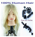 Mannequin Head 100% Natural Human Hair Training Cutting Styling Dye Practice Training Head Manikin Head Hairdressing Blonde
