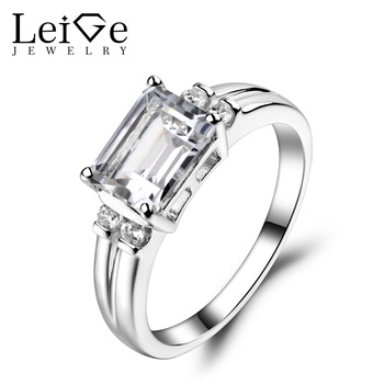Leige Jewelry White Topaz Ring Engagement Promise Rings For Woman Sterling Sliver 925 Fine Jewelry Emerald Cut Gemstone