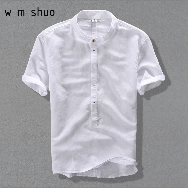 WMSHUO New High Quality leisure Linen Shirts 2018 Summer Men Fashion Style Brand Short Sleeved Shirts Men Free Shipping Y002