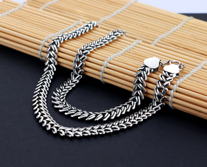 Image 5 - Mens 925 Thai Silver Necklaces Vintage Style Snake Chain Design 66cm Size Solid Silver Jewelry Party Accessories Birthday Gift