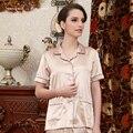 China qualidade Superior das senhoras camisolas de seda macia respirável adulto menina roupas de noite V neck corpo inteiro mulheres calça de pijama de verão