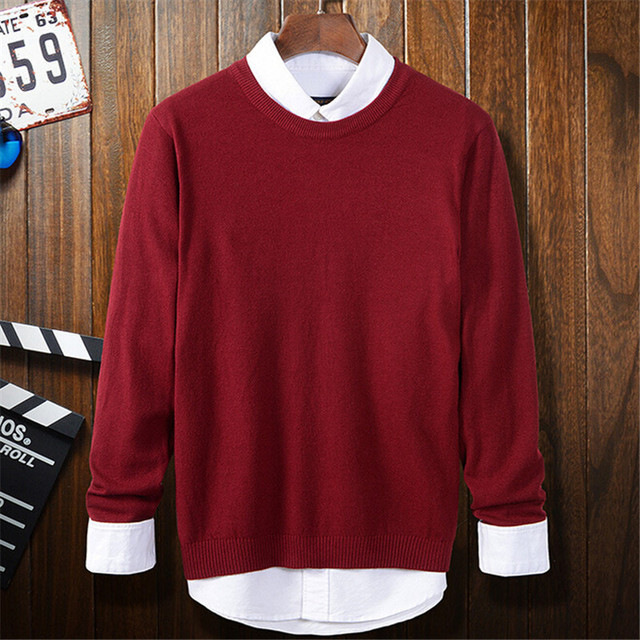 Red Sweaters Men 2016 Autumn New Fashion O-neck Knitted Pullovers Homme Soft Warm Long Sleeve Slim Fitness Basic Sweaters M-XXL