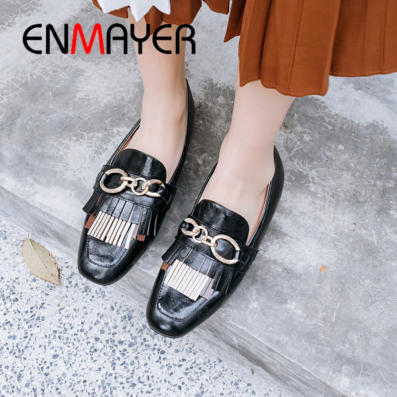 ENMAYER 2019 New Arrival Genuine Leather Mary Janes Woman Shoes Casual Mixed Colors Spring/Autumn Fringe Shoes Size 34-40 LY2175ENMAYER 2019 New Arrival Genuine Leather Mary Janes Woman Shoes Casual Mixed Colors Spring/Autumn Fringe Shoes Size 34-40 LY2175